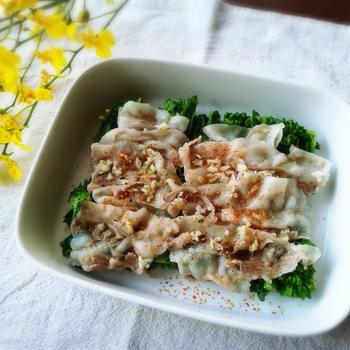 減塩✨ 豚バラと菜の花のナンプラー蒸しとお礼❤️