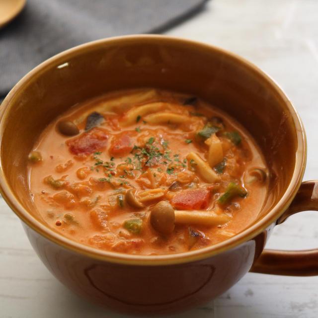 朝ごはんにトマトクリームスープ♪