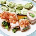 菜の花の豚巻き♡桜えび生姜ソース