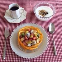 『フレッシュフルーツの盛り合わせ』の朝ごはん☆ヨーグルト・コーヒーとともに♪♪