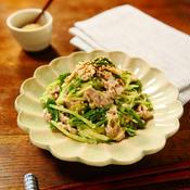 レンチンde水菜と豚こまのからしマヨネーズ和え
