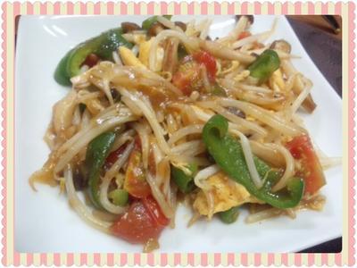 もやしと卵と残り野菜のあんかけ風炒め物(レシピ付)