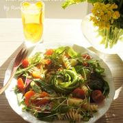 香りソルト<レモンペパーミックス>で減塩♪美味しいアボガドの少量パスタ野菜サラダ