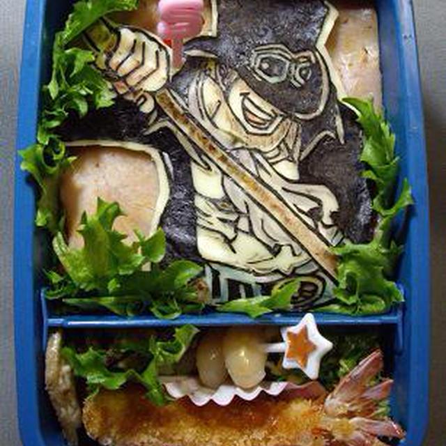 保温開始 ワンピース彩色海苔切りonチーズ!青年サボ キャラ弁
