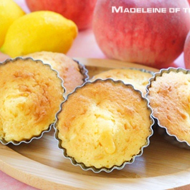 ホットケーキミックスで「桃のマドレーヌ」