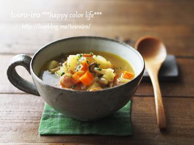 朝食にオススメ★コロコロ野菜とウインナーのカレースープ