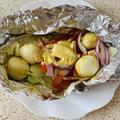 白身団子と野菜のタンドリー風ホイル焼き