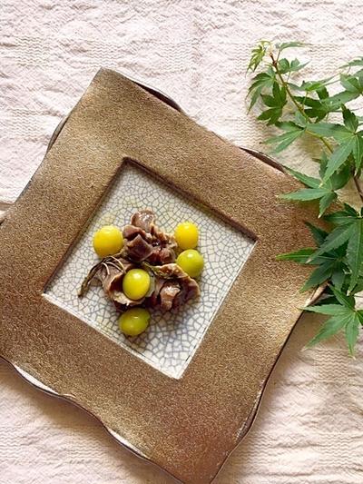 砂肝と銀杏のコンフィ