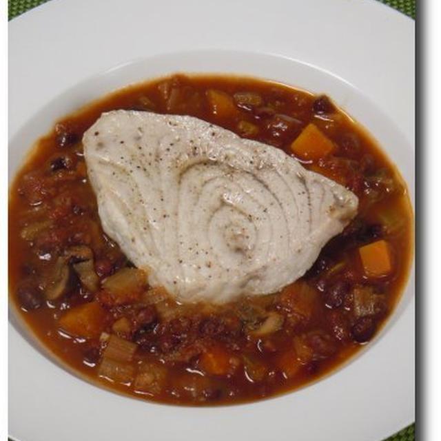 圧力鍋で小豆のトマトシチュー