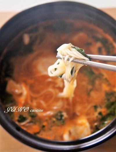 そうめんアレンジレシピ☆豆腐チゲ風にゅう麺☆そしてホトトギス(時鳥草)