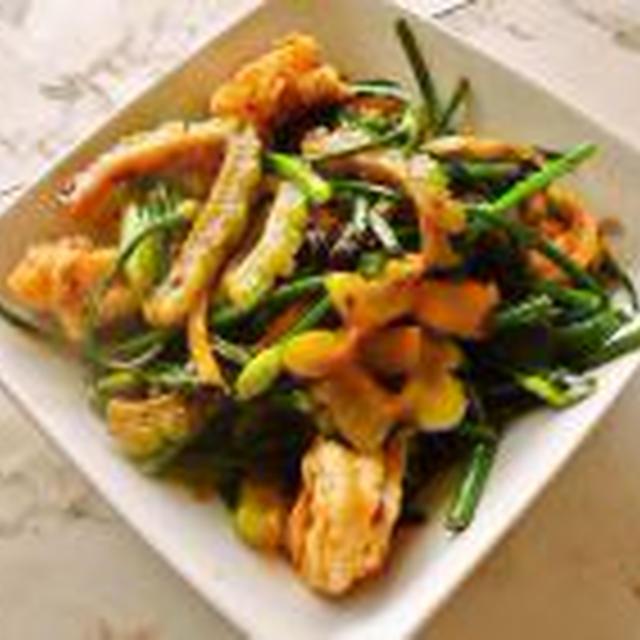 花にらとゴーヤとエビの中華風炒め&じゃがいもチーズ焼き