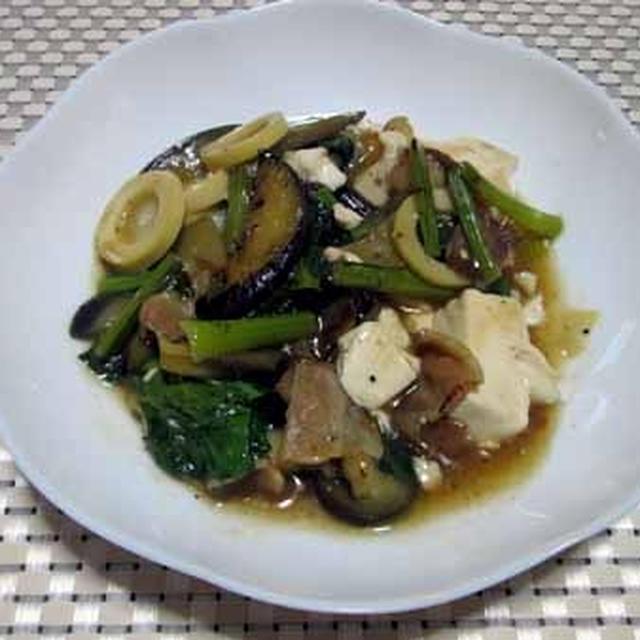 豆腐と茄子のかき醤油煮