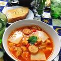 高野豆腐のミネストローネパスタ塩麹スープ