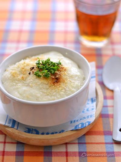 コロコロチーズとポテトのグラタン。とたっぷりキャベツのエビスープ。企画START☆