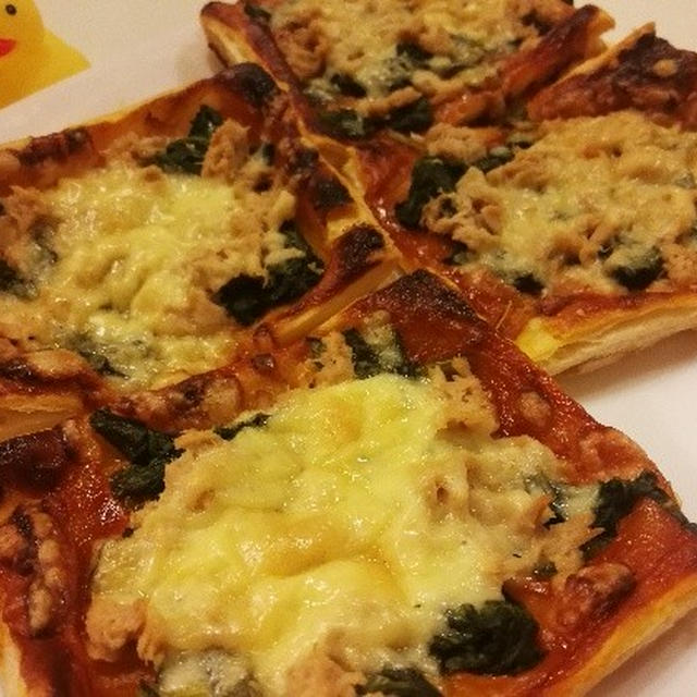 冷凍パイシートを使った!ほうれん草とシーチキンのピザのレシピ