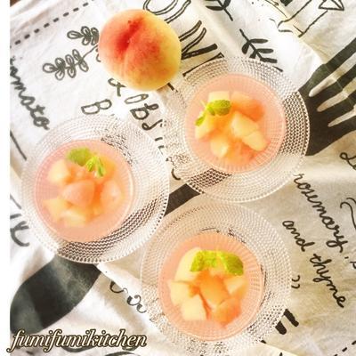 桃のコンポートゼリー