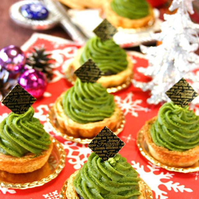 抹茶のスイートポテトカップパイ☆クリスマスツリー仕立て