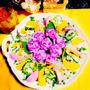 雨がやんでバラの花が咲きました♡マッシュポテトとゴーヤサラダ