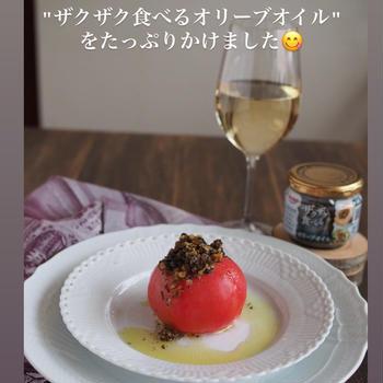 ・・トマトの冷製ファルシィにザクザク食べるオリーブオイルをたっぷりかけて...