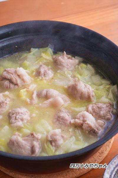 豚小間だんごと白菜の 塩バター鍋 ☆