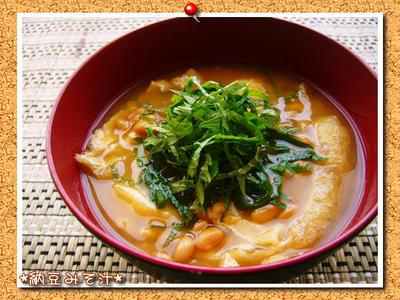 【納豆とお揚げの大葉のせお味噌汁】 残りもので10分レシピ♪