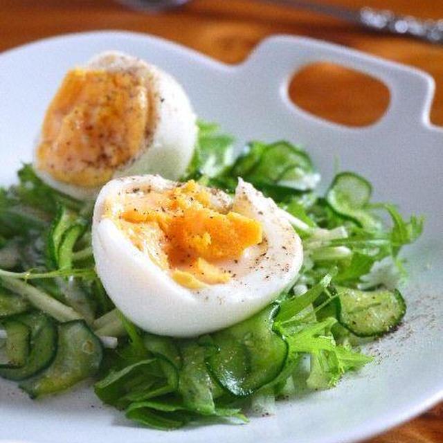 ゆで卵のグリーンサラダ♪柚子胡椒ヨーグルトドレッシング