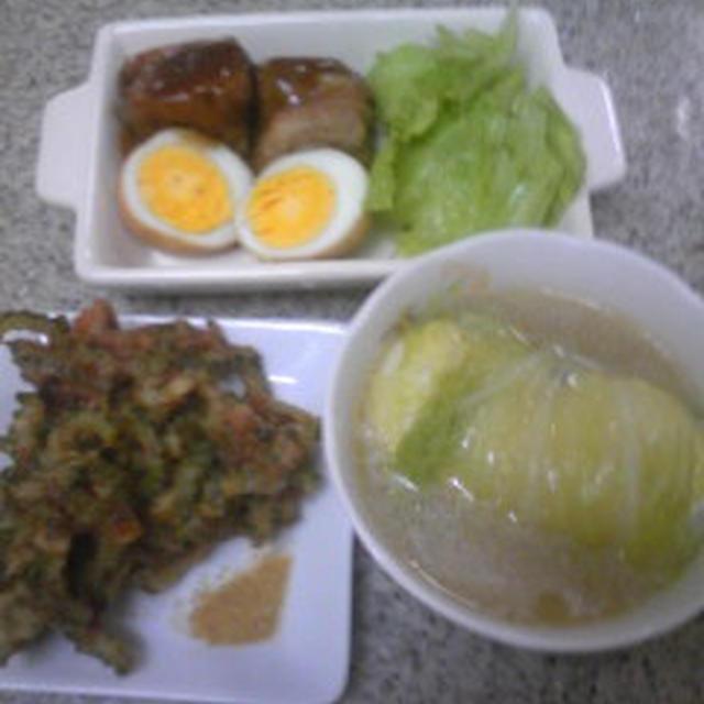 高野豆腐の角煮風 & ヘルシー焼き春巻き