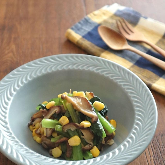 レンジで簡単和総菜☆小松菜としいたけのバター醤油