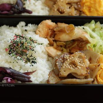 鶏のネギポン酢炒めと蓮根のきんぴら~食べざかり中学生のお弁当