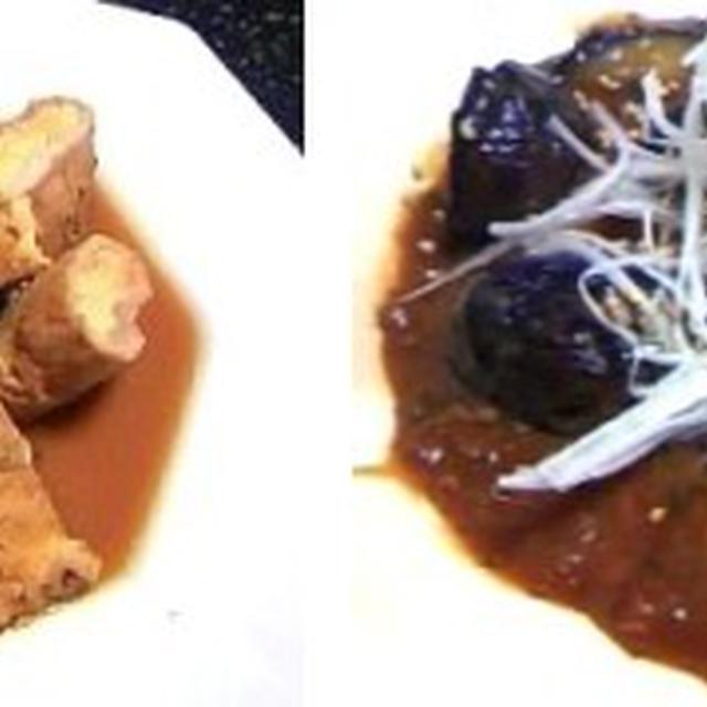 高野豆腐の豚肉巻き、麻婆味ナス味噌炒め