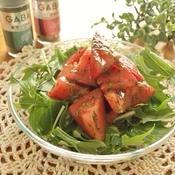 トマトと水菜のパクチー花椒塩ドレサラダ