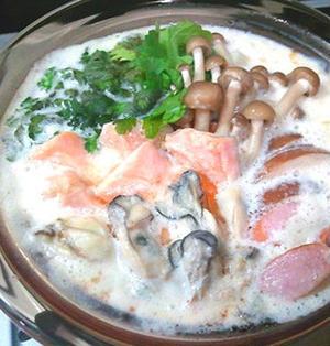 キャンベル缶で☆牡蠣と鮭のホワイト鍋
