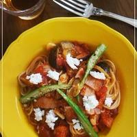トマト茄子パスタ&カッテージチーズ