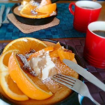 スキレットでオレンジスフレパンケーキ(*^^*)ふわっふわ