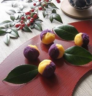 紫芋と 安納芋の 2色茶巾♪