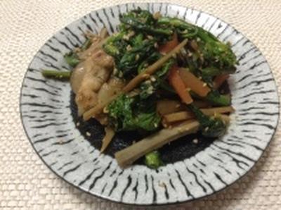 菜の花入り春野菜たっぷりきんぴら(レシピ)