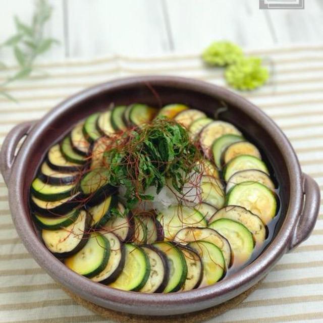 【レシピ】茄子とズッキーニともやしのオイポンレンジ蒸し