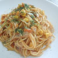 ◇ハムコーンと野菜をプラス☆タカラ本みりんでおいしさアップミートソーススパゲティ