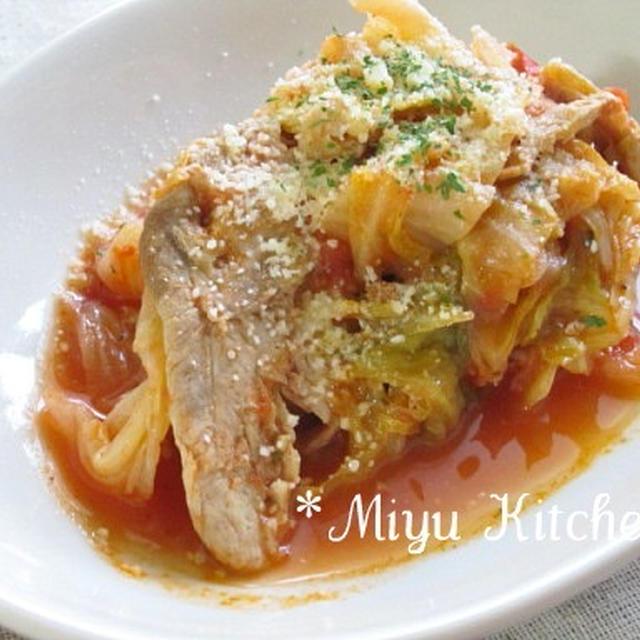 豚肉とキャベツのトマト蒸し@レシピブログ