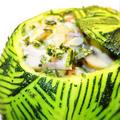 丸いズッキーニの詰め物、カニカマ入りココナツ風味