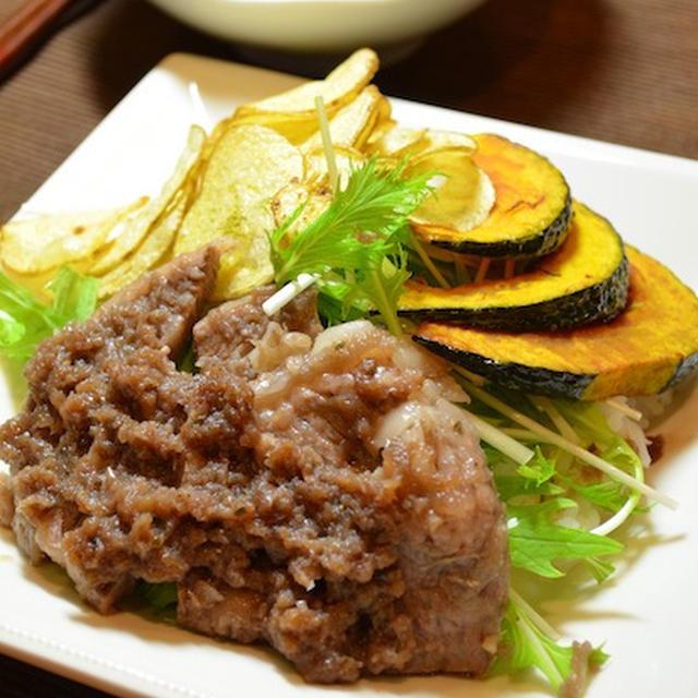 タマネギソースのあっさりステーキ丼☆