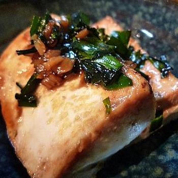 焼き豆腐の中華風ステーキ