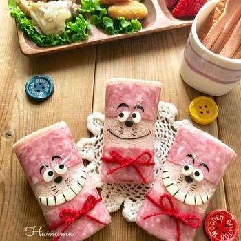 《キャラ弁》お弁当にぴったり!くるくるサンドでチェシャ猫♡作り方