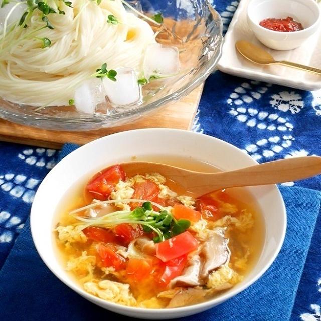 和風酸辣湯(サンラータン)のつけ素麺