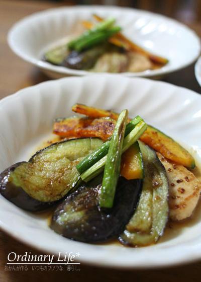 カジキの粒マスタードと焼き野菜