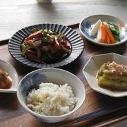 ストウブで♪ 豚肉とゴーヤの味噌炒め、生姜の炊き込みご飯、焼き茄子など。