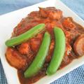 鶏むね肉とミニトマトとスナップえんどうのカレーの献立♪