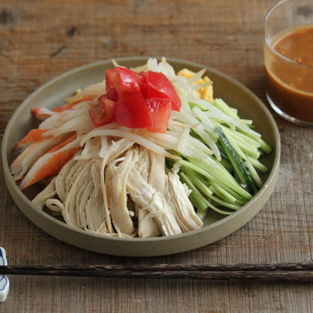【簡単麺類レシピ】レンチン蒸し鶏とピーナッツバターで作るまろやか坦々だれ