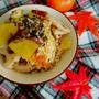 秋食材たっぷり!さつまいもとレンコンの塩昆布炊き込みご飯