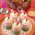 抹茶と桜の2層のパンナコッタ&持ち寄りワックスポットサラダ by ぱおさん